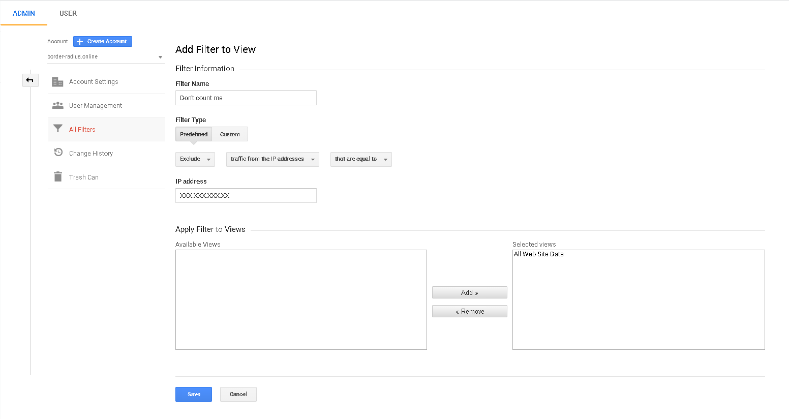 Google Analytics Basic Configurations to stop counting visits from a specific IP Address