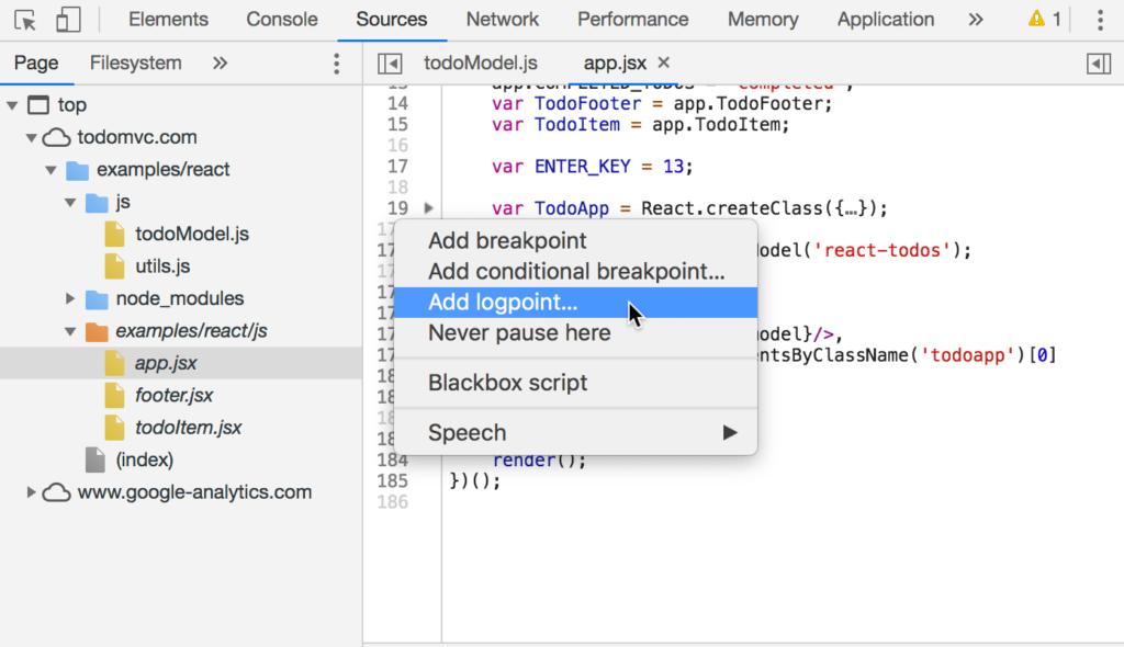 Chrome 73 DevTools Features - Logpoints - Step 1