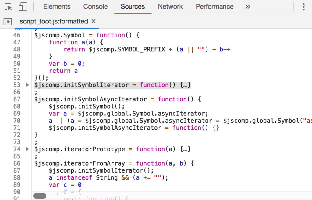 Chrome 73 DevTools Features - Code Folding