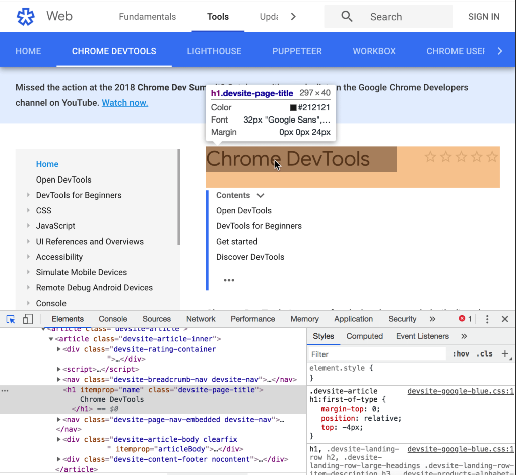 Chrome 73 DevTools Features - New Inspecting Mode with more information like Color, Font, Margin and more!