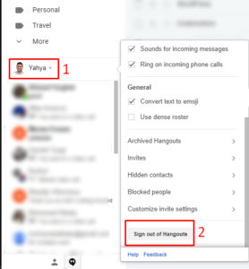 Sign out from Google Hangouts on Gmail
